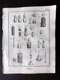 Diderot 1780's Antique Print. Chimie 10 Chemistry